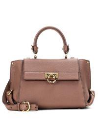 Ferragamo | Brown Sofia Small Leather Tote | Lyst