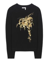 Chloé | Black Embellished Wool And Cashmere Sweater | Lyst