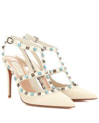 Valentino | Metallic Garavani Rockstud Rolling Leather Pumps | Lyst