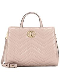 Gucci | Pink Gg Marmont Small Matelassé Leather Tote | Lyst