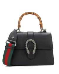 Gucci | Black Dionysus Bamboo Medium Leather Shoulder Bag | Lyst