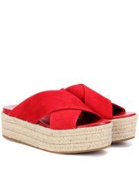 Miu Miu | Red Suede Platform Sandals | Lyst