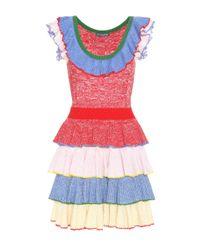 Alexander McQueen | Red Wool And Silk Dress | Lyst