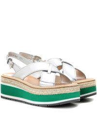 Prada | Multicolor Leather Platform Sandals | Lyst