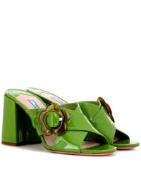 Prada | Green Patent Leather Sandals | Lyst