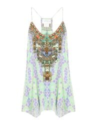 Camilla | Blue Embellished Printed Silk Top | Lyst