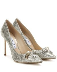 Jimmy Choo | Metallic Jasmine 100 Glitter Pumps With Crystal Buttons | Lyst