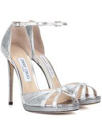 Jimmy Choo | Talia 120 Metallic Leather And Glitter Sandals | Lyst