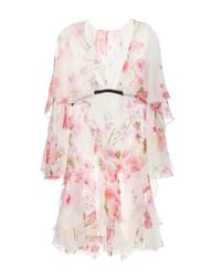 Giambattista Valli | Pink Printed Silk-chiffon Dress | Lyst