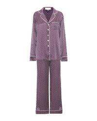 Olivia Von Halle | Purple Lila Printed Silk Pajamas | Lyst