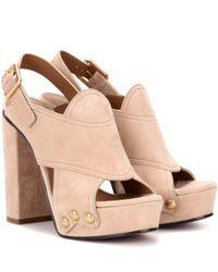 Chloé | Natural Suede Sandals | Lyst