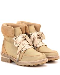 Ganni   Natural Laura Suede-trimmed Ankle Boots   Lyst