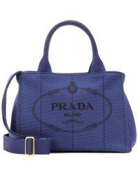 Prada   Blue Printed Cotton Tote   Lyst