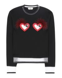 Fendi | Black Leather And Fur-embellished Sweatshirt | Lyst