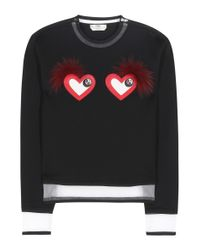 Fendi - Black Leather And Fur-embellished Sweatshirt - Lyst