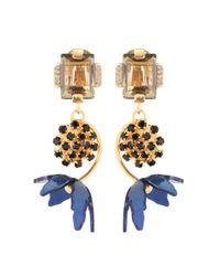 Marni - Metallic Floral Horn Clip-on Earrings - Lyst
