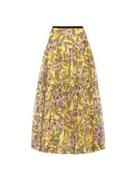 RED Valentino | Yellow Silk And Cotton Printed Skirt | Lyst