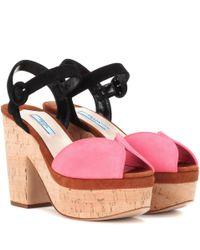 Prada | Pink Suede Platform Sandals | Lyst