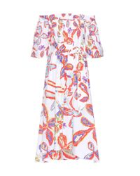 Peter Pilotto - Red Printed Off-the-shoulder Dress - Lyst
