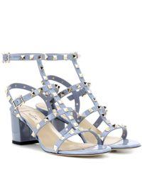 Valentino | Blue Garavani Rockstud Leather Sandals | Lyst