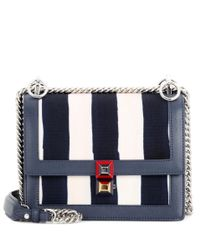 Fendi | Blue Kan I Small Canvas And Leather Shoulder Bag | Lyst