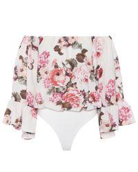 LPA - Pink Off-the-shoulder Floral Bodysuit - Lyst