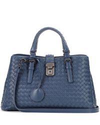 Bottega Veneta - Blue Small Roma Intrecciato Leather Tote - Lyst