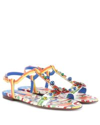 Dolce & Gabbana - Blue Printed Patent Leather Sandals - Lyst