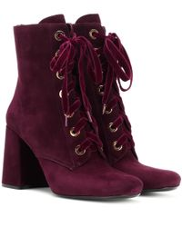 Prada - Purple Suede Ankle Boots - Lyst