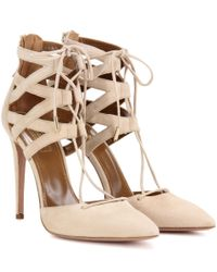 Aquazzura - Natural Belgravia 105 Suede Pumps - Lyst