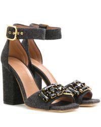 Marni - Black Crystal-Embellished Felt Sandals - Lyst