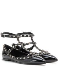 Valentino - Black Garavani Rockstud Noir Patent Leather Ballerinas - Lyst