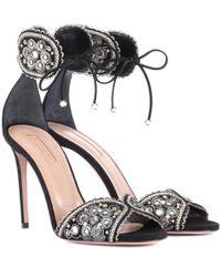 ee104ce58b12 Lyst - Aquazzura Jaipur 105 Embellished Suede Sandals in Black