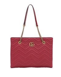 Gucci - Red GG Marmont Medium Leather Tote - Lyst