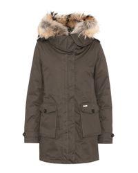 Woolrich | Green Scarlett Fur-trimmed Down Coat | Lyst