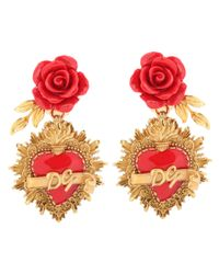 Dolce & Gabbana - Metallic Rose Clip-on Earrings - Lyst
