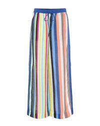 Diane von Furstenberg - Blue Striped Linen-blend Trousers - Lyst