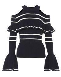 Self-Portrait - Black Striped Cotton-blend Sweater - Lyst