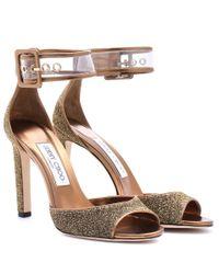 Jimmy Choo   Metallic Sandals   Lyst