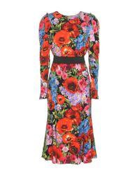 Dolce & Gabbana - Red Printed Silk Dress - Lyst