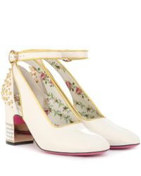 Gucci - White Studded Patent-leather Pumps - Lyst