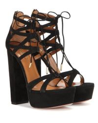 Aquazzura - Black Beverly Hills Plateau 140 Suede Sandals - Lyst