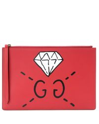 Gucci - Red Ghost Printed Leather Clutch Bag  - Lyst