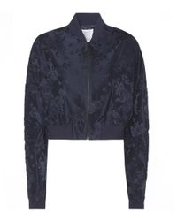 Rosie Assoulin - Blue Cropped Jacquard Bomber Jacket - Lyst