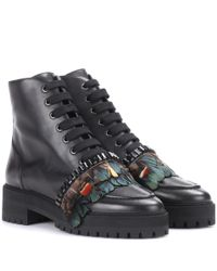 Rochas - Black Embellished Leather Ankle Boots - Lyst