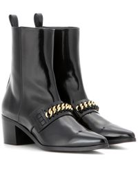 Stella McCartney - Black Embellished Patent Ankle Boots - Lyst
