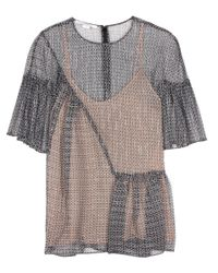 Stella McCartney - Black Santi Printed Silk Top - Lyst