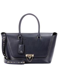 Valentino - Blue Demilune Double Handle Leather Shoulder Bag - Lyst
