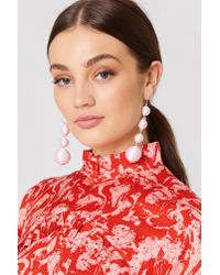 NA-KD - Pink Textured Globes Drop Earrings - Lyst