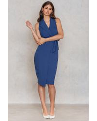 Closet - Blue Collar V Neck Tie Up Dress - Lyst